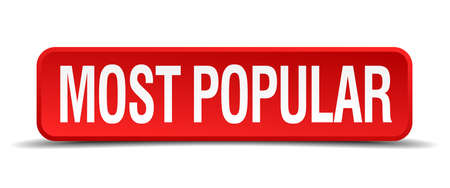 popularity popular: most popular red 3d square button isolated on white