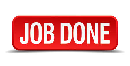 appraisal: job done red 3d square button isolated on white