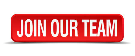 help wanted sign: Join our team red 3d square button isolated on white