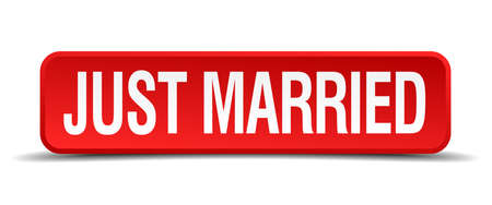 Just married red 3d square button isolated on white Vector