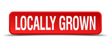 grown: locally grown red 3d square button isolated on white
