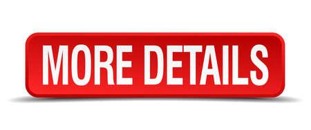 más detalles botón cuadrado rojo 3d aislado en blanco