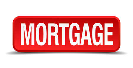 Mortgage red 3d square button isolated on white Vector