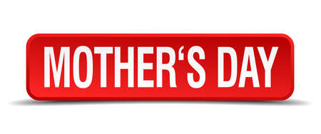 mothers day red 3d square button isolated on white Illustration