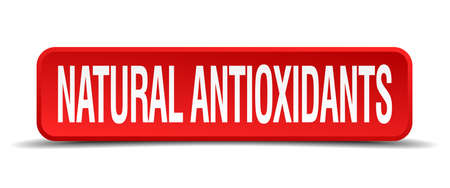 antioxidants: natural antioxidants red 3d square button isolated on white