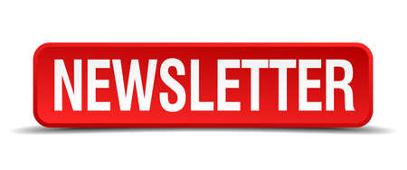 newsletter red 3d square button isolated on white