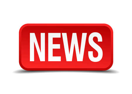 News red 3d square button isolated on white Vector