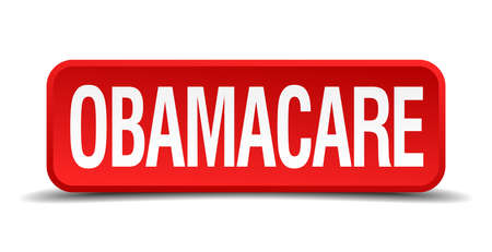 medicaid: Obamacare red 3d square button isolated on white