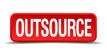 acception: Outsource red 3d square button isolated on white