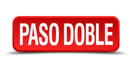 paso doble: Paso doble red 3d square button isolated on white