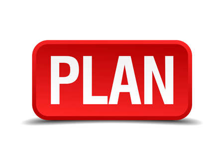 Plan red 3d square button isolated on white