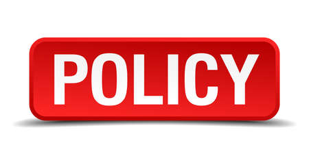 Policy red 3d square button isolated on white Vector