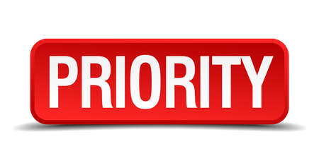 precedency: Priority red 3d square button isolated on white Illustration