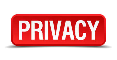 precedency: Privacy red 3d square button isolated on white