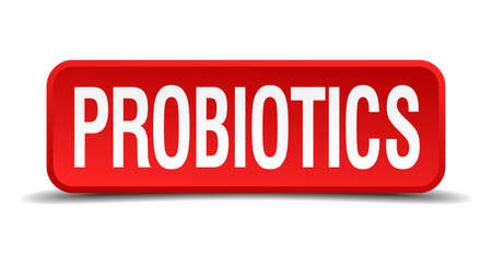 probiotics red 3d square button isolated on white