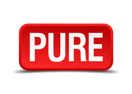 Pure red 3d square button isolated on white Illustration