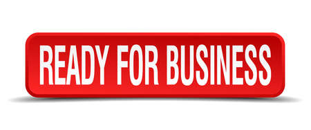 ready for business red 3d square button isolated on white