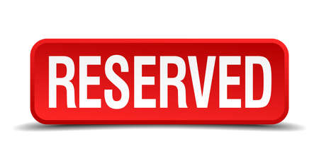 reserved seat: Reserved red 3d square button isolated on white Illustration