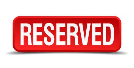 Voorbehouden rode 3d vierkante knop op wit wordt geïsoleerd Vector Illustratie