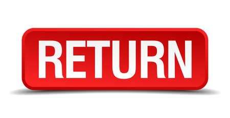 Return red 3d square button isolated on white Vector