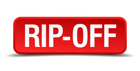 extortion: Rip off red 3d square button isolated on white Illustration