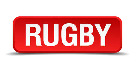 rugby red 3d square button isolated on white Vector