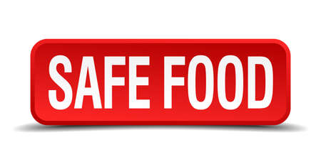 eco notice: safe food red 3d square button isolated on white