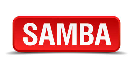 precedency: Samba red 3d square button isolated on white