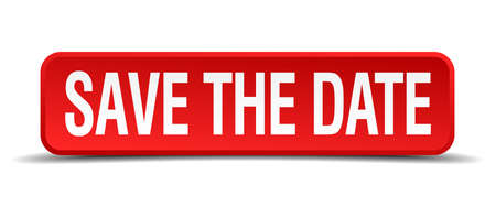 save the date red 3d square button isolated on white  イラスト・ベクター素材