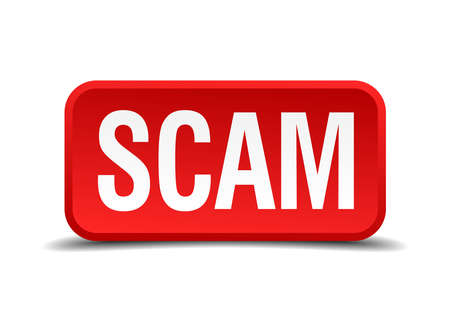 extortion: Scam red 3d square button isolated on white