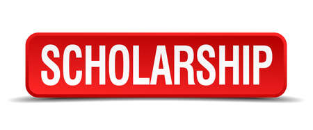 scholarship: scholarship red 3d square button isolated on white