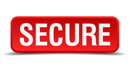 precedency: Secure red 3d square button isolated on white