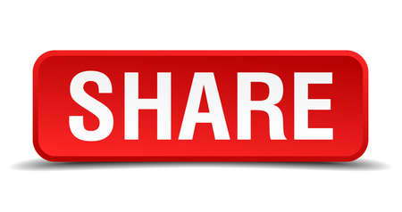Share red 3d square button isolated on white Vector