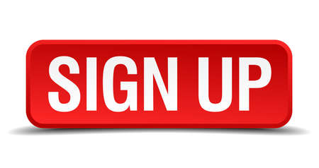 Sign up red 3d square button isolated on white Illustration