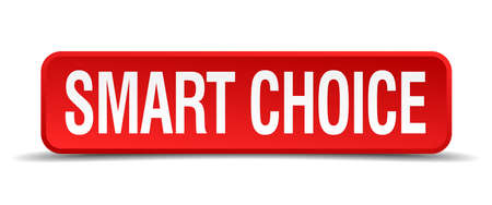 precedency: Smart choice red 3d square button isolated on white