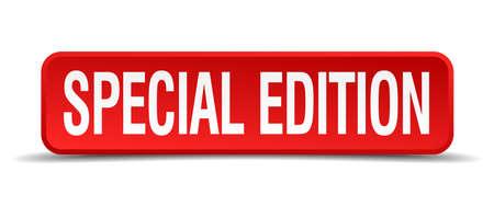 edizione straordinaria: Edizione speciale 3d rosso pulsante quadrato isolato su bianco Vettoriali