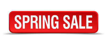 precedency: Spring sale red 3d square button isolated on white