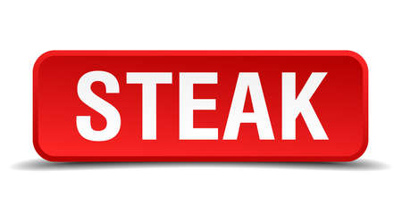 precedency: Steak red 3d square button isolated on white