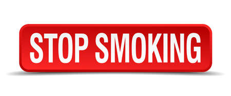Stop smoking red 3d square button isolated on white Vector