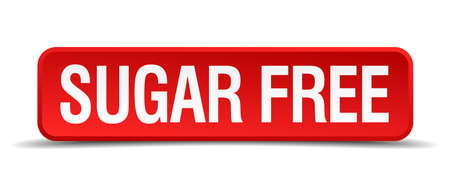precedency: Sugar free red 3d square button isolated on white