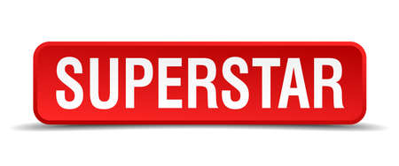 superstar: Superstar red 3d square button isolated on white