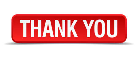 thanks a lot: Thank you red 3d square button isolated on white