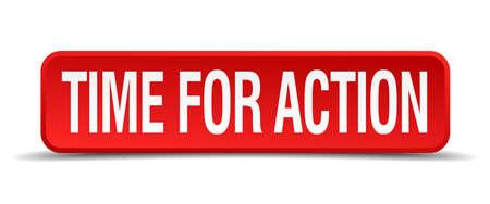 activism: Tiempo para la acci�n rojo bot�n cuadrado 3d aislado en blanco Vectores