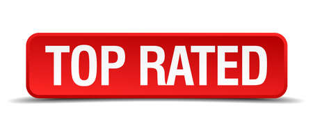 rated: Top rated red 3d square button isolated on white