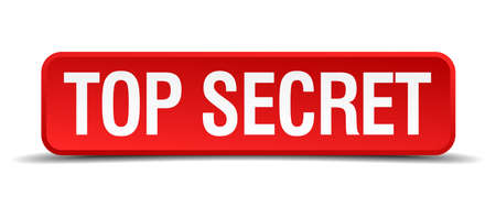 Top secret red 3d square button isolated on white Vector