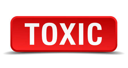 intoxicant: Toxic red 3d square button isolated on white