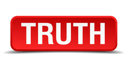 confirmed verification: Truth red 3d square button isolated on white