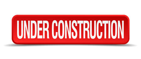 unavailable: Under construction red 3d square button isolated on white Illustration