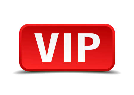 private i: Vip red 3d square button isolated on white