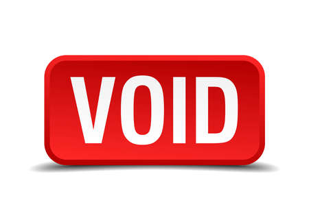 void: Void red 3d square button isolated on white Illustration